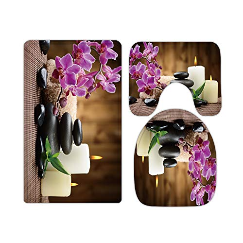 Pink Floral Butterfly Orchid Rustic Bathroom Rugs and Mats Sets 3 Piece, Memory Foam Bath Mat, U-Shaped Contour Shower Mat Non Slip Absorbent, Velvet Toilet Lid Cover Washable