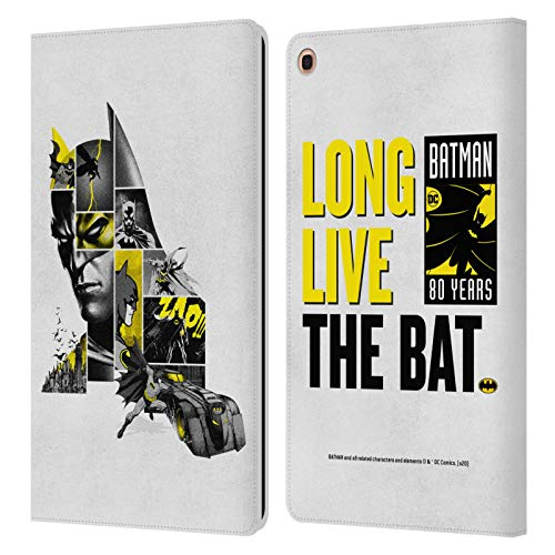 Head Case Designs Officially Licensed Batman DC Comics Collage 80th Anniversary Leather Book Wallet Case Cover Compatible with Samsung Galaxy Tab A 10.1 2019