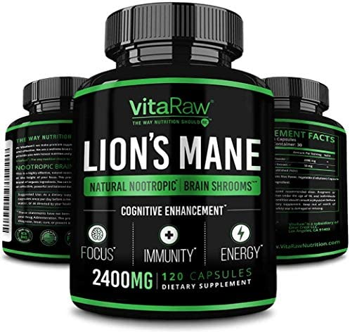 Organic Lions Mane Mushroom Capsules 2400mg Powerful Nootropic Brain Mushroom Supplement for product image