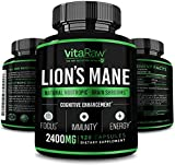 Organic Lions Mane Mushroom Capsules (2400mg | Powerful Nootropic) Brain Mushroom Supplement for Focus & Immune Support Pure Lion's Mane Mushroom Powder Extract - Brain Booster Memory & Energy Pills