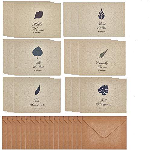 CRASPIRE レターセット アンティーク 葉テーマ メッセージ カード クラフト封筒 メッセージラベル(ランダム) 手紙 おしゃれ 記念日 お祝い 感謝際 招待状 結婚式 多目的