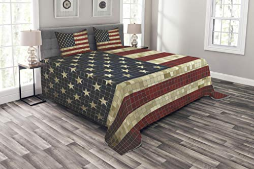 Lunarable American Flag Bedspread, Abstract Mosaic Flag of USA Grungy Design Square Shaped Illustration, Decorative Quilted 3 Piece Coverlet Set with 2 Pillow Shams, King Size, Blue Cream