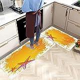 2 Piezas Alfombras Cocina Lavable Antideslizante Bosque Naranja...