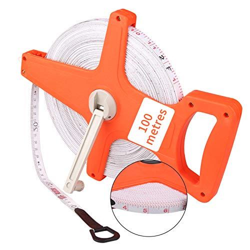 DaiWeier Rollmaßband Rollenmaßband Rollbandmaß Rahmenbandmass Maßband Messband, Bandmaß Fiberglas 100m /328 Ft, Breite 12.5mm, Rollmeter METER und ZOLL doppel Seiten markiert