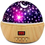 Star Sky Night Lamp,ANTEQI Baby Lights 360 Degree Romantic Room Rotating Cosmos Star Projector with LED Timer Auto-Shut Off for Kid Bedroom (Wood Grain)