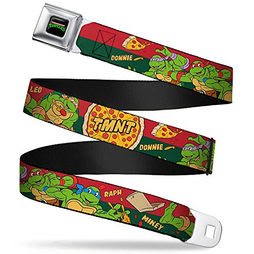 Buckle-Down Seatbelt Belt - Classic TMNT 4-Turtles Pizza Party Stripe Red/Green - 1.5' Wide - 32-52 Inches in Length