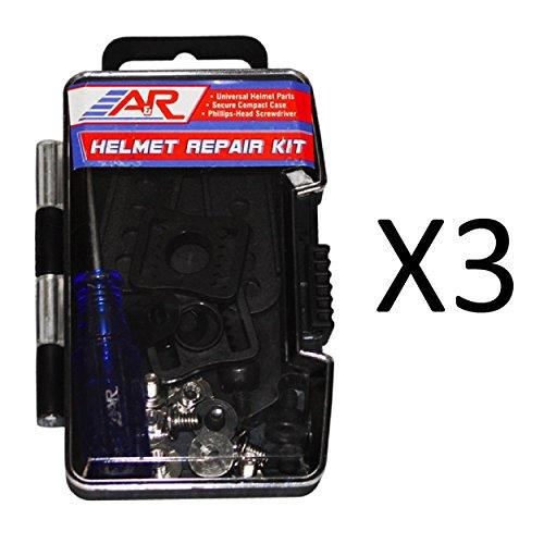 A&R Sports Universal Hockey Helmet Repair Kit-Screws Clips Buckles Nuts (3-Pack)
