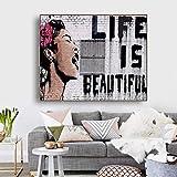 YCCYI Marco Dorado Banksy Pintura La Vida es Bella Arte de la Pared Lienzo Póster Impresiones Imagen Sala de Estar Decoración del hogar Marco de 20x35cm (8x14in)
