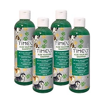 Timely - Shampooing pour chien à peau sensible à l'aloe vera pour un pelage doux, (Lot de 4x 250ml)
