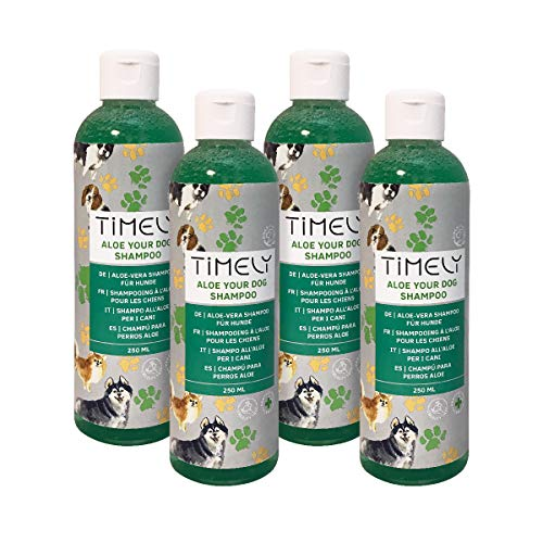 Timely - Aloe Your Dog, champú delicado para perros de pelo suave (pack de 4 x  250 ml)
