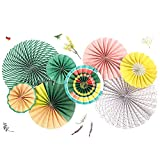 "🎉High Quality Neon Paper Rosettes Party Fans: NEON yellowbright orange & peachturquoisegreen.(You get eight fans) 🎉Includes all 8 fans pictured. 2 - 16"", 2 - 12"", 2 - 10"" and 2 - 8"" fans. 🎉Pre-folded fans arrive flat and are easy to assemble. Each fa..."
