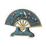 Decoración del hogar Adornos Estatuas Escultura,Ventilador Creativo Estatua Sala de Estar Entrada Gabinete de Vino Decoración de Pantalla de artesanía Zen