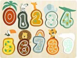 Small foot-11702 Puzle números Safari, small foot, con Motivos de Animales, en Madera, a Partir de 12 Meses. Puzzles (11702)
