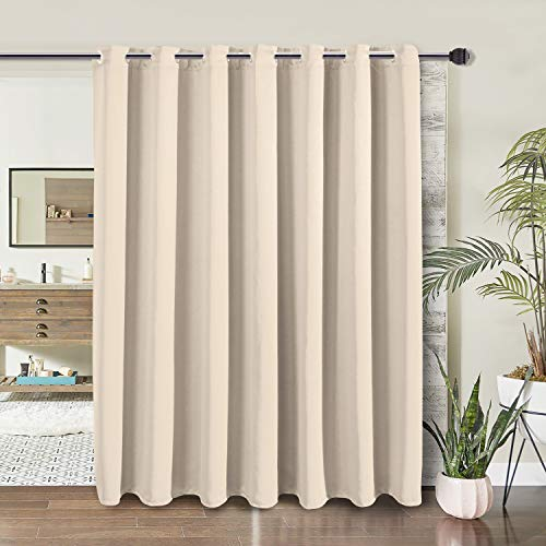 WONTEX Room Divider Curtain- Privacy Blackout Curtains for Bedroom Partition, Living Room and Shared Office, Thermal Insulated Grommet Curtain Panel for Sliding Door, 8.3ft Wide x 7ft Long, Beige