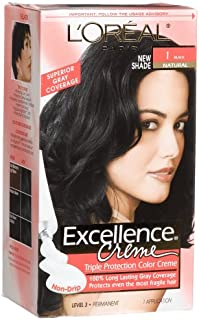 L'oreal Excellence Cream #1 Black Natural, Hair Color, (Pack of 3)