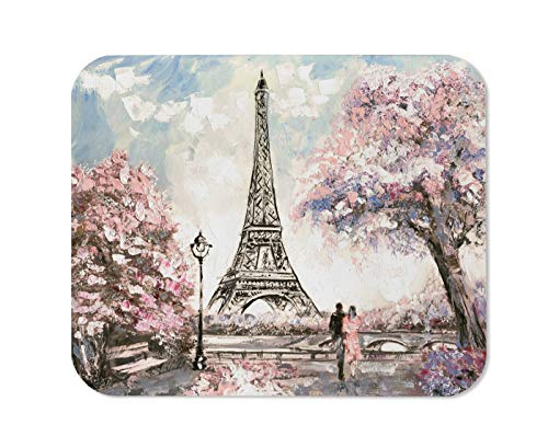 Yeuss Eiffel Tower Mouse Pad Rectangular Non-Slip Mousepad, Couple Oil Painting Paris Street View Gentle Scenery Gaming Mouse Pads, Pink,200mm x 240mm