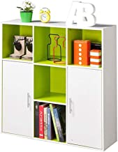 MOM Home Storage Shelves,Office Furniture Stands Bookcase Cottage Road with Doors Assembly Lattice Cabinet Storage Sturdy Bedroom Space Saving Holders,Green White,35.1311.4135.43In