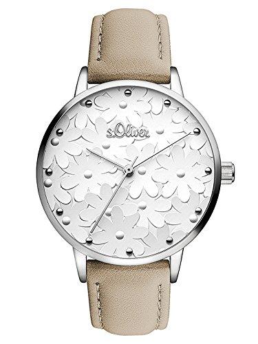 s.Oliver Damen Analog Quarz Uhr mit Leder Armband