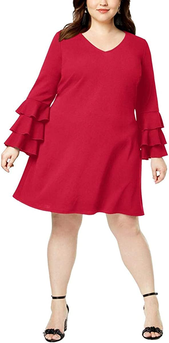 LOVE SQUARED Women's Plus Size Tiered-sleeve A-Line Dress