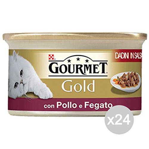 Lot de 24 Poules Gourmet Gold Dadini Fegatini Poulet 85 g Nourriture pour Chats