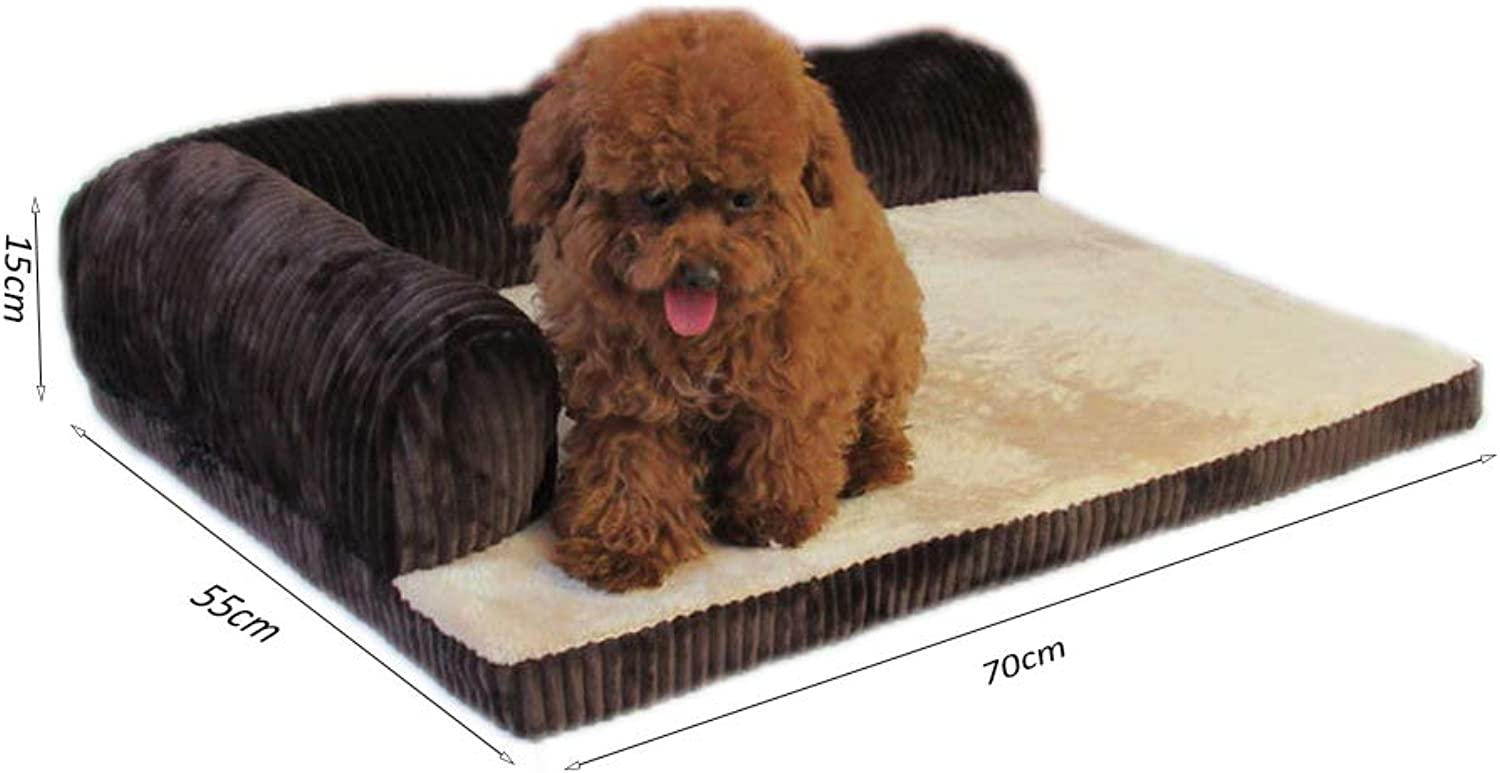 Pet Dog Bed,Portable Removable Warm Breathable Corduroy Dog Cat Sofas for Large,Medium and Small Dogs and Cats,Brown,M