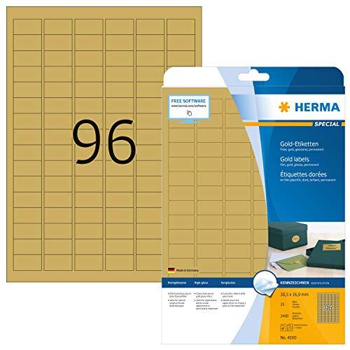 Herma 4100 - Etiquetas para impresoras (25 unidades), dorado