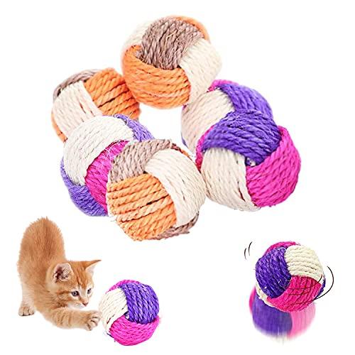 Bola de Gato,6 Pcs Sisal Cuerda Gato Pelota,Juguete Gato Interactivo,Pelotas de Juguete para Gatos,Juguete Interactivo para Mascotas,Juguete para Mascotas,Pelota de Masticación para Gatos