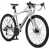 カノーバー(CANOVER) グラベル ロードバイク 自転車 21段変速 ディスクブレーキ アルミフレーム CAR-014-DC NERO ホワイト