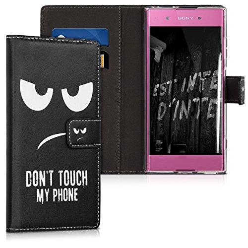 kwmobile Sony Xperia XA1 Plus Hülle - Kunstleder Wallet Case für Sony Xperia XA1 Plus mit Kartenfächern & Stand - Don't Touch My Phone Design Weiß Schwarz