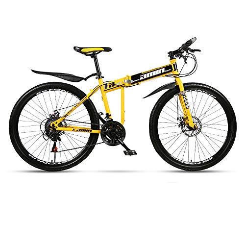 Folding Mountain Bike Bicycle Adult Integrated Wheel Double Shock Absorption Racing 21/24/27 Speed Off-Road Variable Speed Male and Female Students Fast Cycling,Yellow,26in/27speed