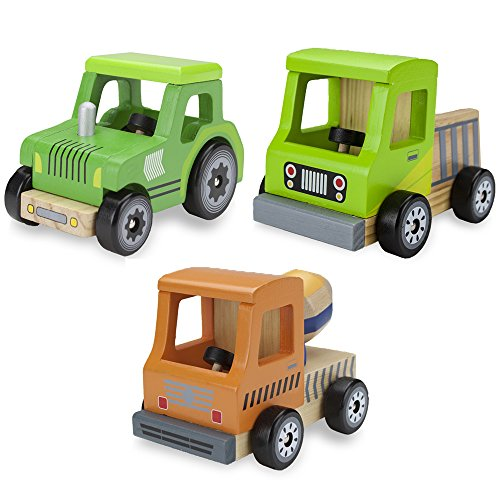 Image of Wooden Wheels Tough Jobs Pack: Natural Beech Wood Tractor, Pickup Truck, and Cement Mixer