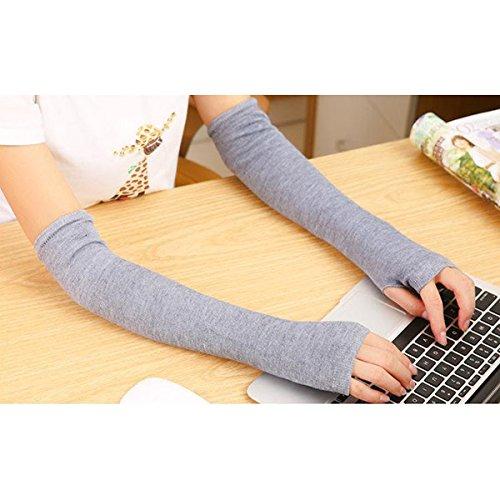 LEORX Par de punto guantes largos de dedos mano calentador de brazo para mujeres niñas (luz gris)