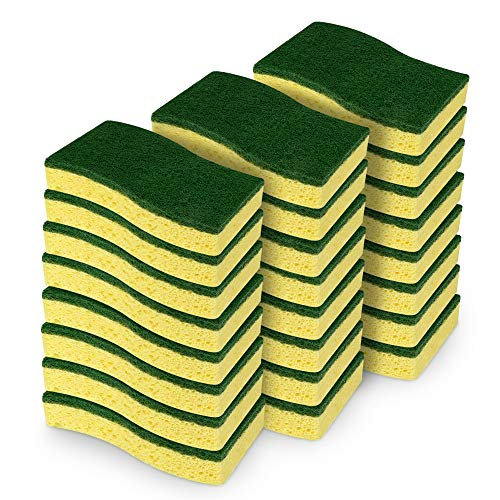 AIDEA Heavy Duty Scrub Sponge, Heavy Duty Cellulose Sponge, Cleans Fast Without Scratching, Cleaning Power for Everyday Jobs for Dishes, Pots, Pans, 24 Scrub Sponges