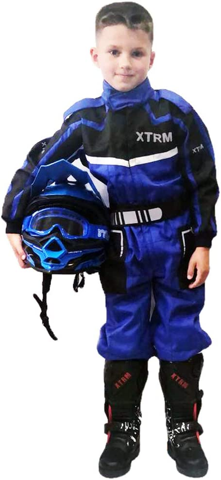XTRM Kinder Rennkart Anzug Junior Motocross Kinder Quad Dirt Bike MX Off Road Trials Go-Karting Enduro Kinder ATV MTB BMX Sport Overalls Racing einteiliger Anzug