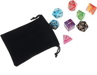 GENERIC 56Pcs/Set Polyhedral Dices compatible for Dungeons Dragons Games D20 D12 D10 D8 D6 D4 Games + Pouch