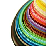 Syzopq Papier Quilling, Quilling-Papierstreifen(26 Farben 1040 Streifen 3/5/7/10 mm Breite, 15 Zoll Länge, 4er Pack)