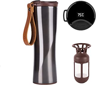Xiaomi Mijia Smart Coffee Mug with OLED Temperature Display, Kiss Kiss Fish Stainless Steel Travel Tumbler for Hot or Cold Water/Coffee, Vacuum Flask 431ml Water Bottle with Coffee Filter