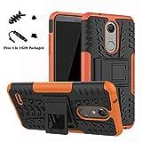 LiuShan LG K10 2018 Hülle, Dual Layer Hybrid Handyhülle Drop Resistance Handys Schutz Hülle mit Ständer für LG K10 2018 Smartphone(mit 4in1 Geschenk verpackt),Orange