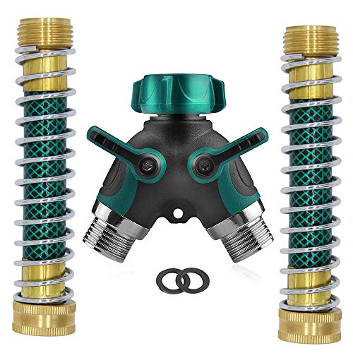 Ambuker Garden Hose Splitter 2 Way, Dual Hose Connector with Comfortable Rubberized Grip, Water Faucet Splitter with 2 Kink Free Faucet Extension Hose Protector Savers and 2 Rubber Washers