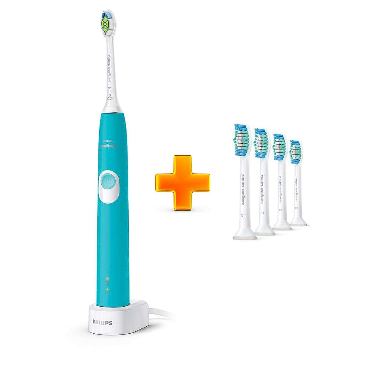 たっぷり天気コミットPhilips Sonicare ProtectiveClean 4300 HX6802プラークコントロール、充電式電動歯ブラシTurkey Blue + PRORESULT歯ブラシHX6014 4 PCS [並行輸入品]