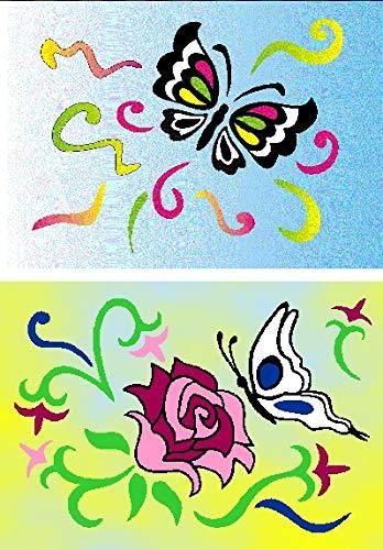2 Glitter / Glitzer Klebefolien - Sandbilder, 15x20cm & 12 x feiner Glitter, 414 / 439 Schmetterlinge / Blumen - Bastelset