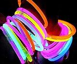 Pulseras Luminosas - 100 Unidades (Variado) - Pulseras Luminosas de la Máxima Calidad - Pulseras Fluorescentes - Varitas Luminosas