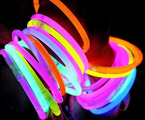 Pulseras Luminosas - 100 Unidades (Variado) - Pulseras Luminosas de la Máxima Calidad - Pulseras Fluorescentes - Varitas Luminosas: Amazon.es: Juguetes y juegos
