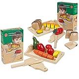 2tlg. Schneideset Obst UND Brot Gemüse Set, Möhre Pilz Zitrone Birne Holzspieleug, Kaufladen, Kinde