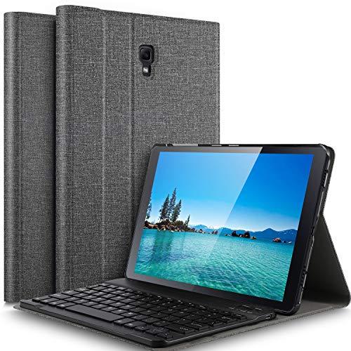 IVSO-toetsenbordbehuizing voor Samsung T590 / T595 Galaxy Tab A 10.5 2018 (QWERTY), slanke PU-behuizing met afneembaar draadloos toetsenbord voor Samsung Galaxy Tab A 10.5 SM-T590N / SM-T595N 2018, Grijs
