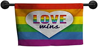 xixiBO Bath Towels for Sale W 35 x L 12(inch) Soft Absorbent Towel,Pride,Rainbow Flag with Stripes Heart Symbol with Love Wins Text LGBT Culture Valentines,Multicolor
