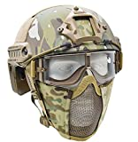 JFFCESTORE MH Updated Version Fast Tactical Helmet Combined with Foldable Half Face Mesh Mask and Goggles for Paintball CS Game Set (Multicam)
