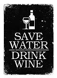 Cirrus Économisez l'eau, Boire du vin (Noir)–Plaque Murale en métal Art Inspirants