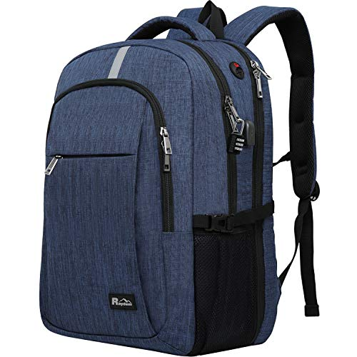 Laptop Backpack with USB Charging Port, Raydem 17.3 Inch Water Resistant Travel...