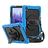 Galaxy Tab A7 10.4'' Case 2020, CASZONE Heavy Duty Shockproof Portable Protective Cover with Screen Protector/Stand/Hand Strap/Shoulder Strap for Samsung Galaxy Tab A7 (SM-T500/T505/T507), Light Blue